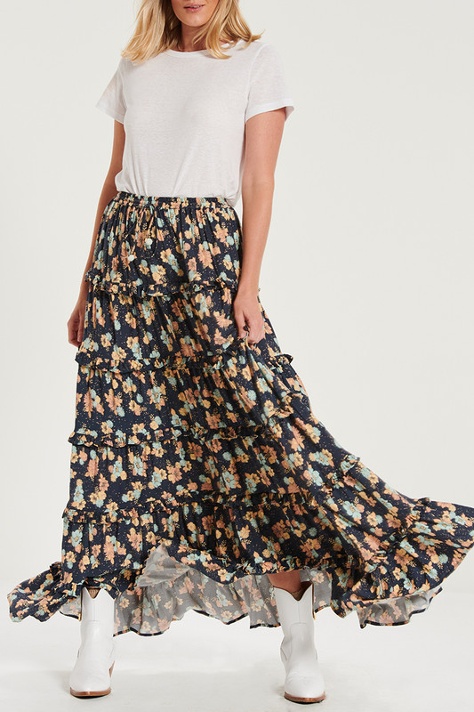 Ruffle Maxi Skirt In Electric Bay