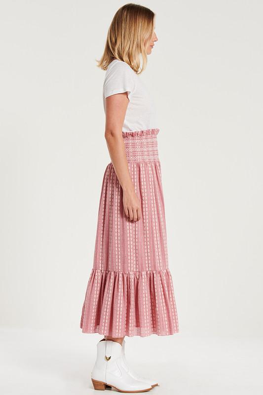 Shirred Waist Tiered Midi Skirt In Rouge