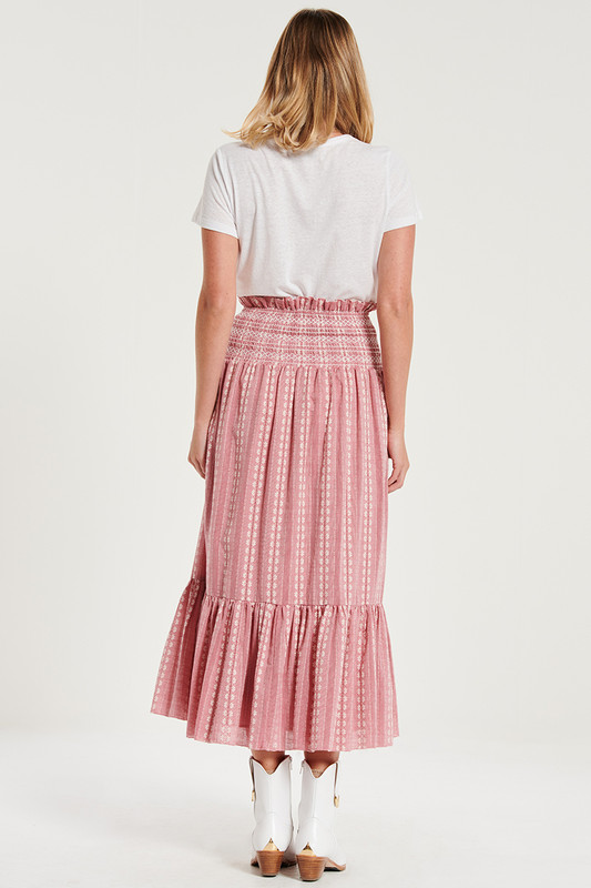 Shirred Waist Tiered Midi Skirt In Rouge