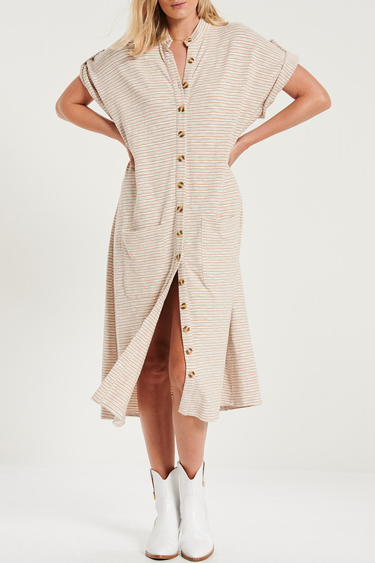 Button Through Midi Dress With Patch Pockets In Tan Textured Stripe