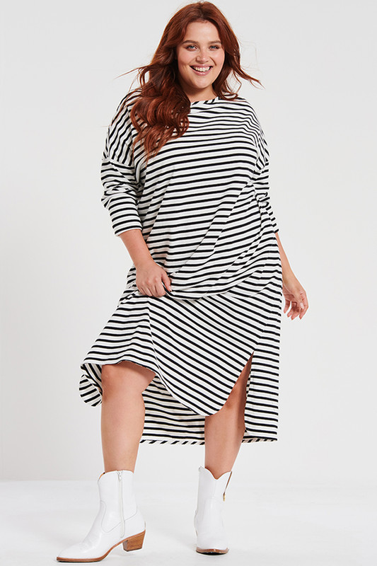 Boyfriend Swing Dress In Black Stripe