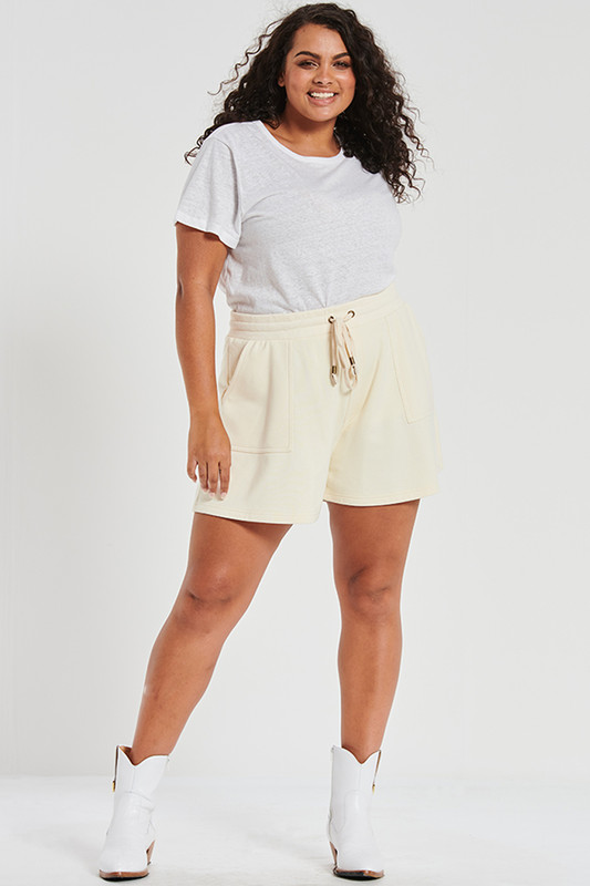 Loopback Track Shorts In Buttermilk