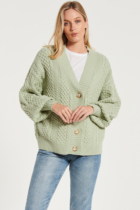 Cable Knit Cardi In Sage