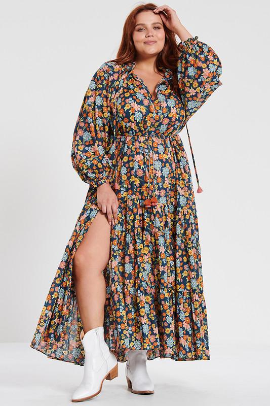 Ruffle Hem Maxi Dress in Cosmic
