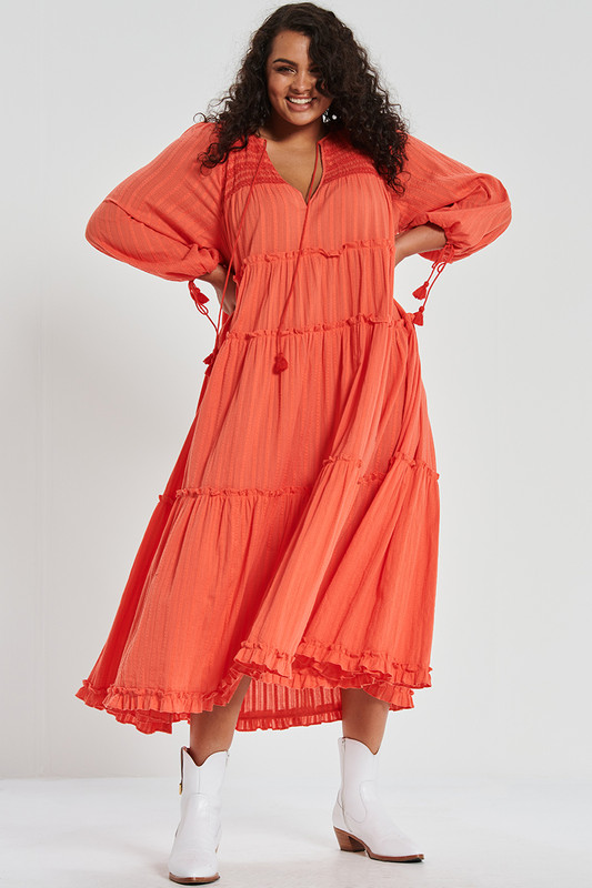 Smocked Midi Dress in Watermelon