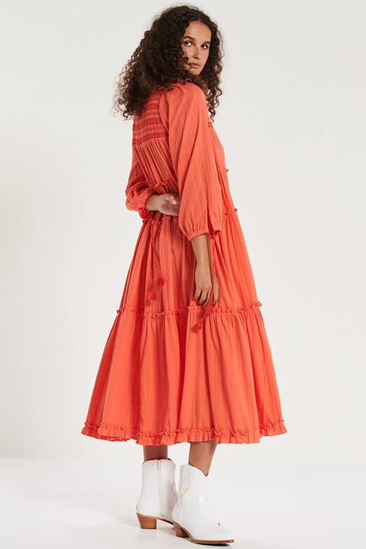 Smocked Midi Dress in Watermelon