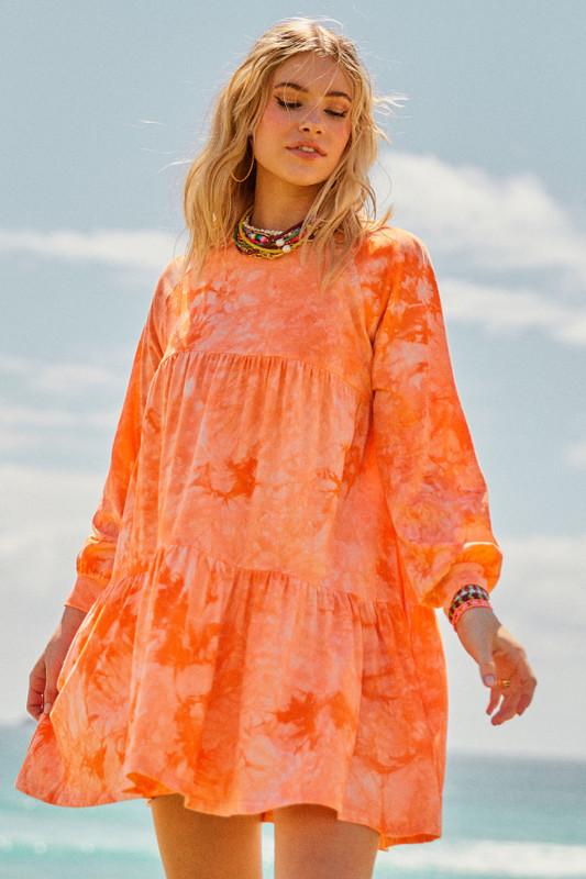 Jersey Swing Dress in Papaya Tie Dye