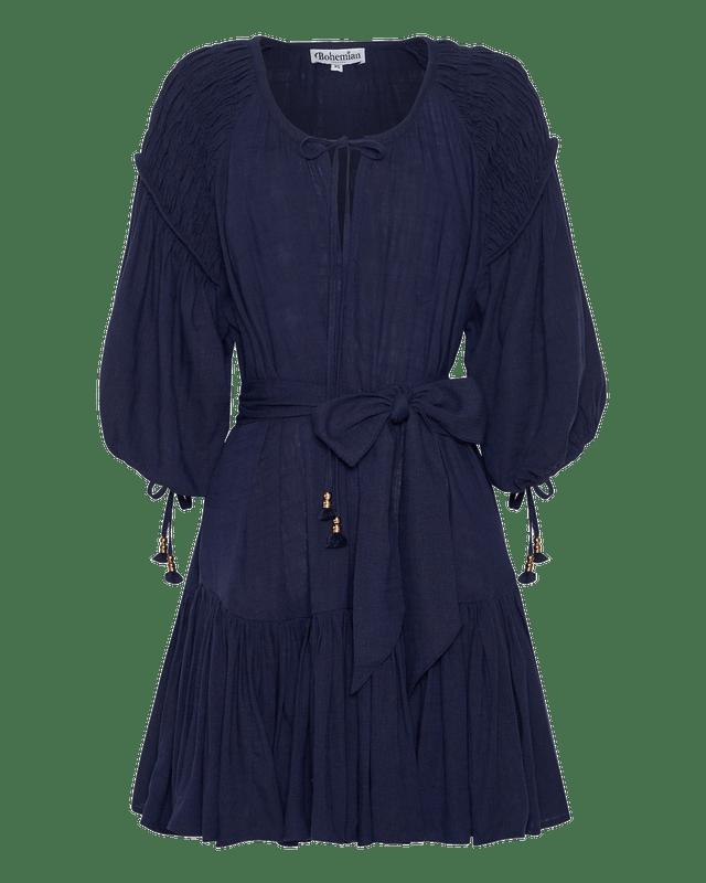 Smocked Shoulder Mini Dress in Navy