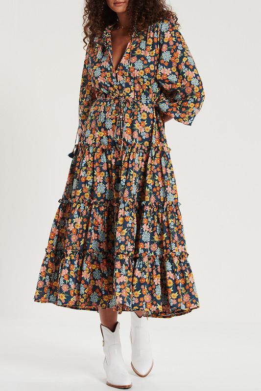 Tiered Ruffle Maxi Dress in Cosmic