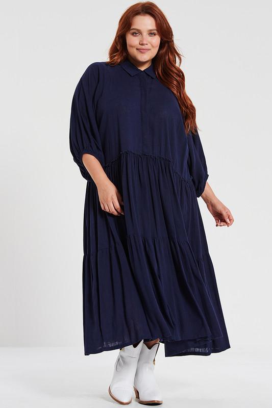 Camilla Midi Dress in Navy