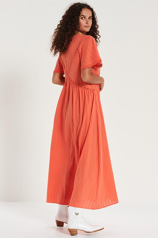 Lace Trim Smock Maxi Dress in Watermelon