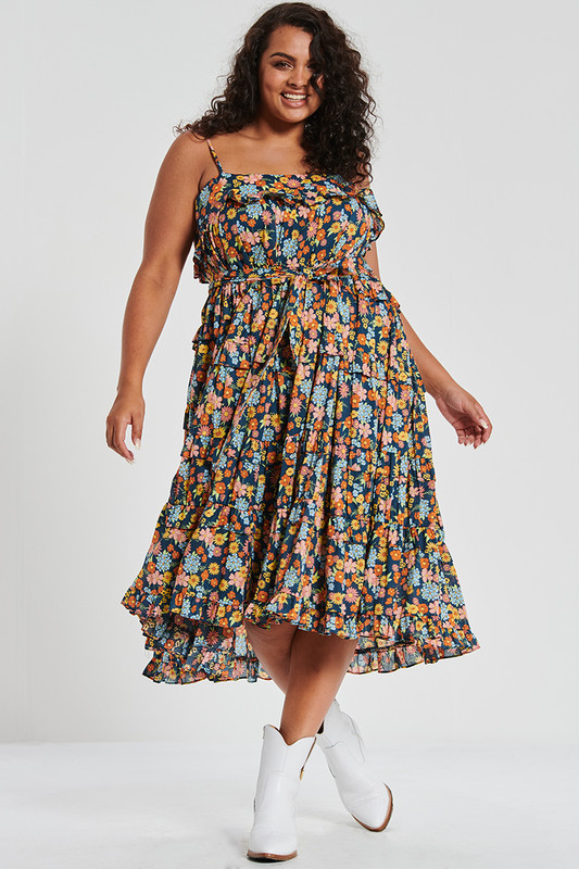 Tiered Midi Dress with Belt in Cosmic