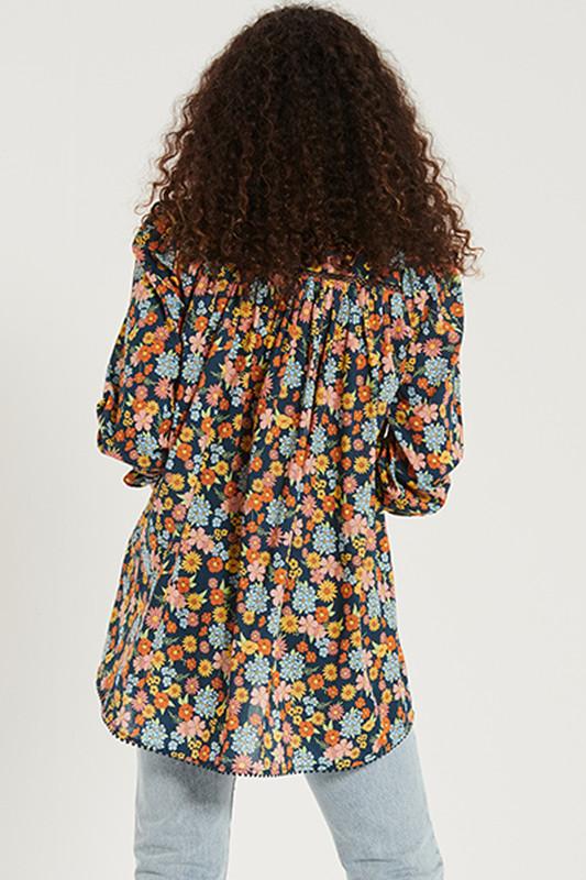 Shirred Sleeve Gypsy Top in Cosmic
