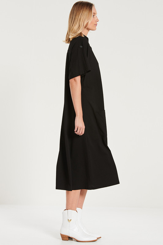 Button Through Pocket Midi Dress in Black