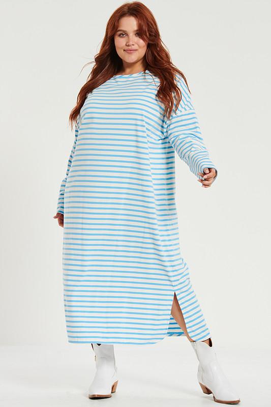 Boyfriend Swing Tee Midi Dress in Blue Stripe