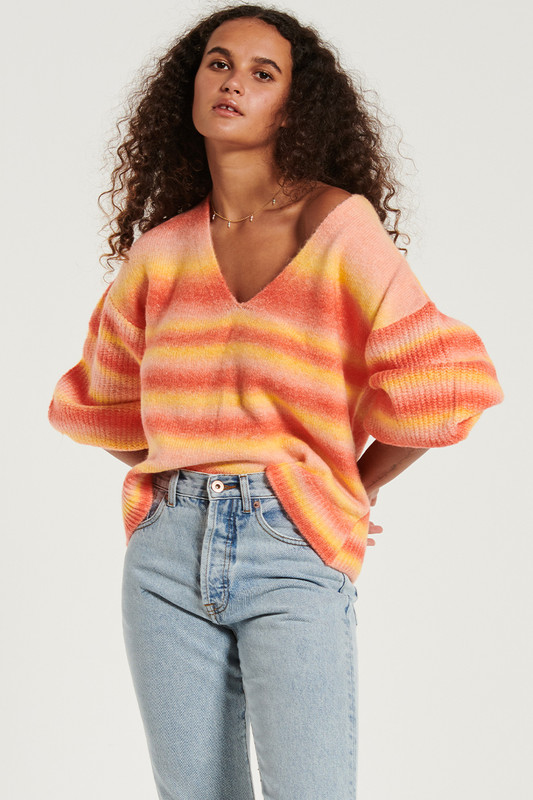 V Neck Ribbed Sleeve Jumper in Sunset