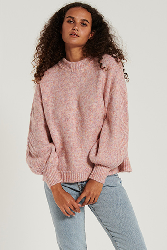 Feature Sleeve Knit Jumper in Raspberry Marle