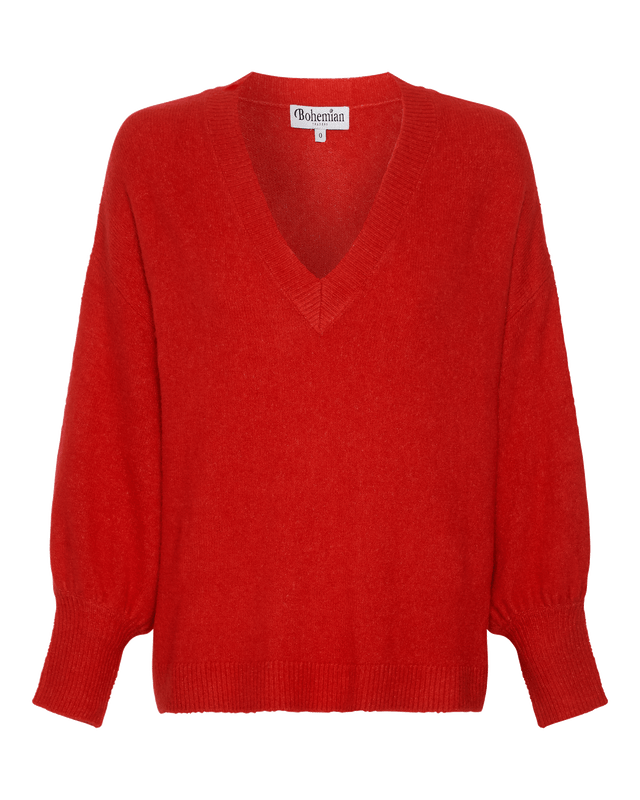V Neck Fluffy Billow Sleeve Jumper in Red