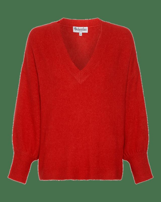 V Neck Fluffy Billow Sleeve Jumper in Red