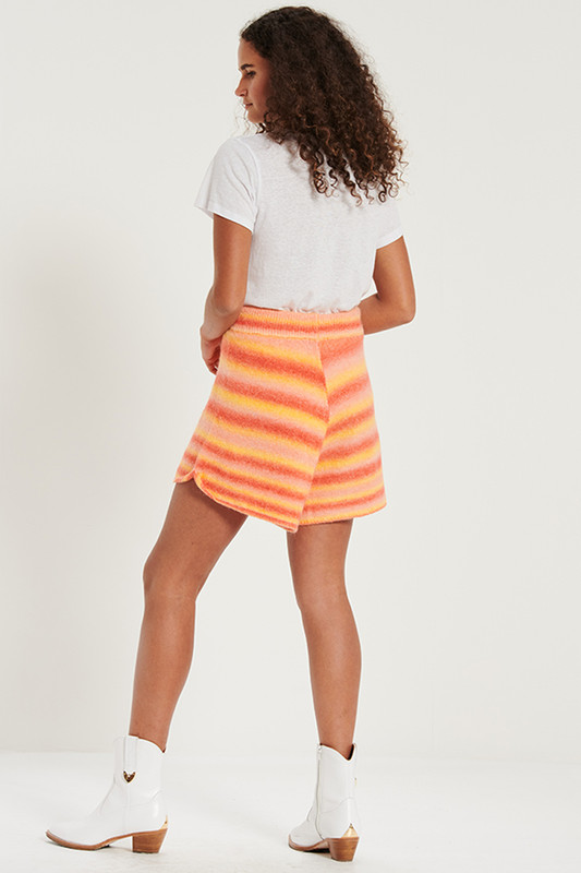 Knit Shorts with Rolled Cuff in Sunset