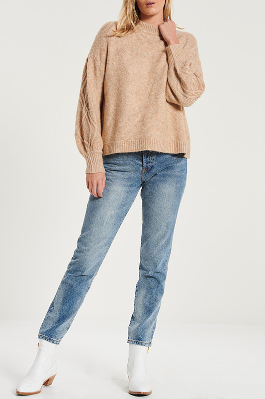 Cable Knit Sleeve Jumper in Teddy Marle