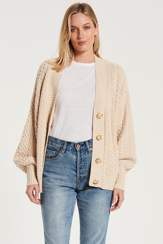 Cable Knit Cardi In Bone