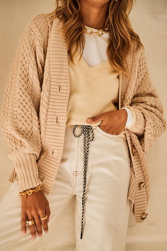 Cotton Knit Cardigan free domestic shipping