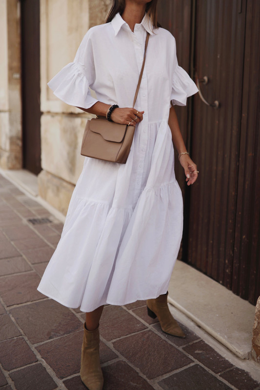 Genoa Midi Dress in White