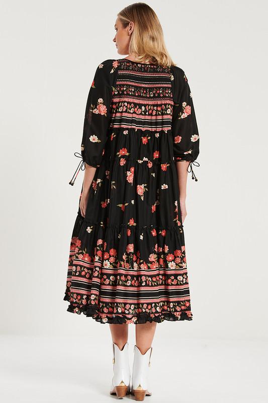 Smocked Midi Dress in Magnetic