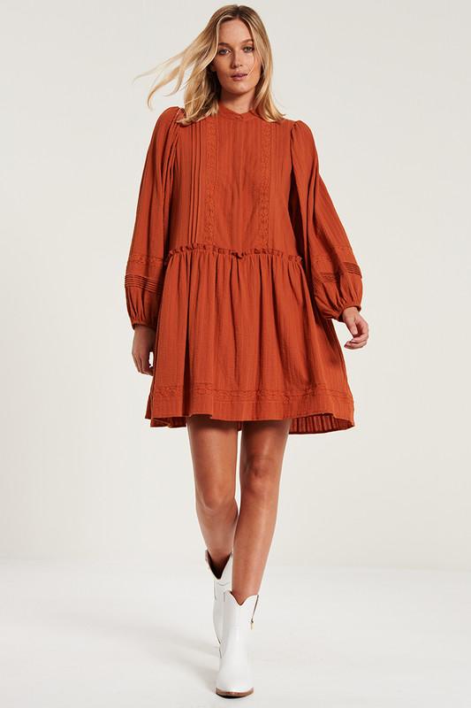 Camilla Mini Dress with Lace Inserts in Terracotta