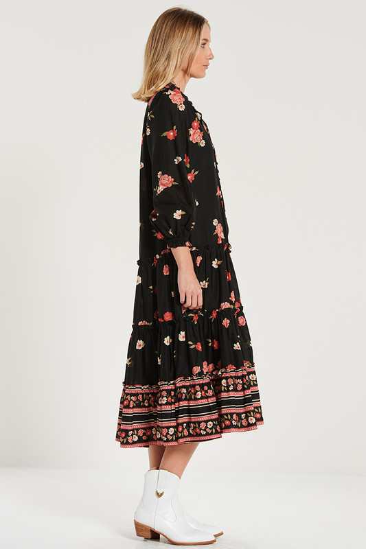 Tiered Ruffle Maxi Dress in Magnetic