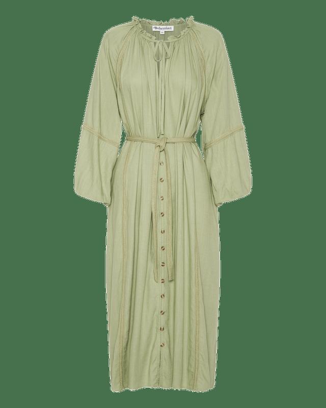 Braided Trim Midi Dress in Sage