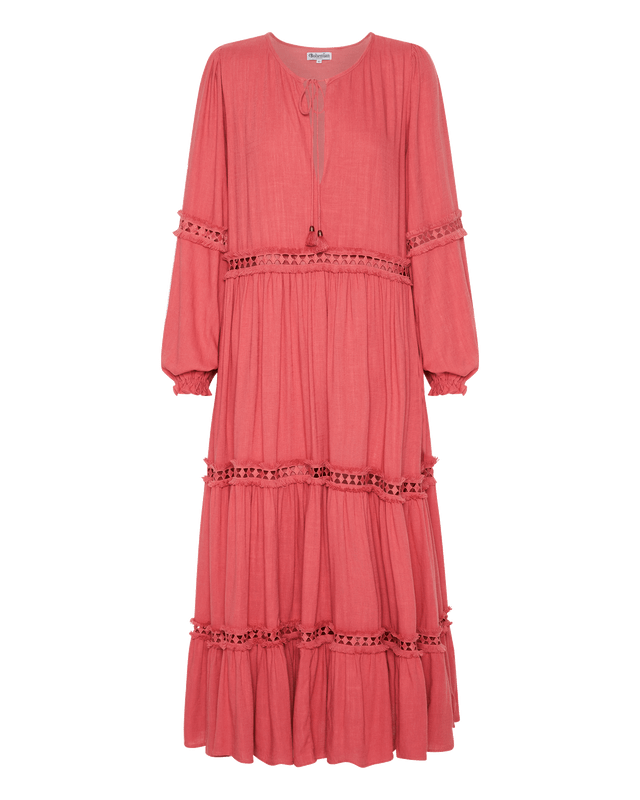 Tiered Trim Insert Maxi Dress in Rhubarb