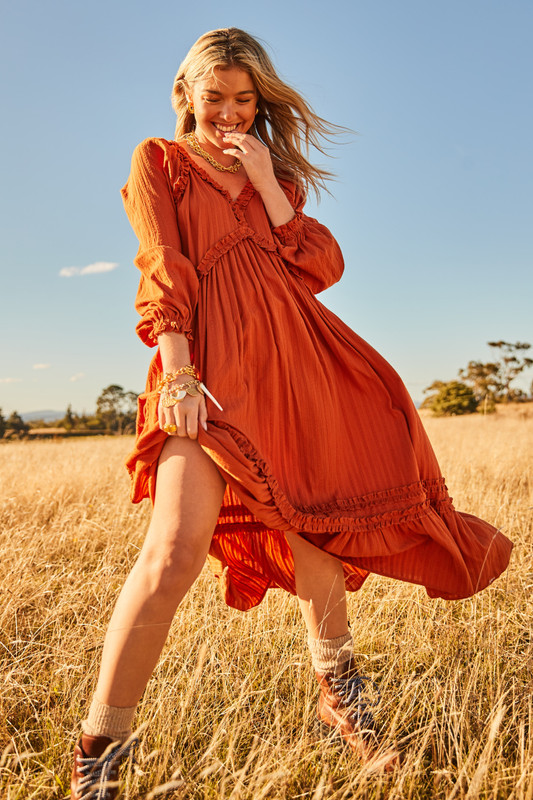 Raglan Sleeve Ruffle Maxi Dress in Terracotta