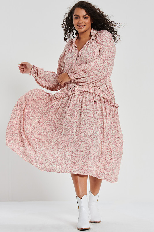 Ruffle Drop Waist Dress in Neverland