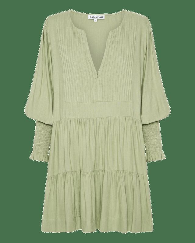 Tuxedo Pin Tuck Mini Dress in Sage