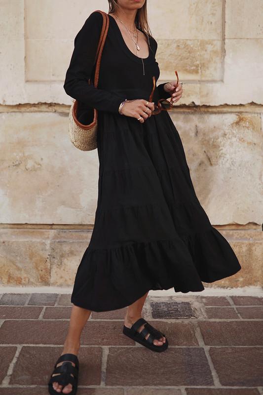 Jersey Tiered Midi Dress in Black