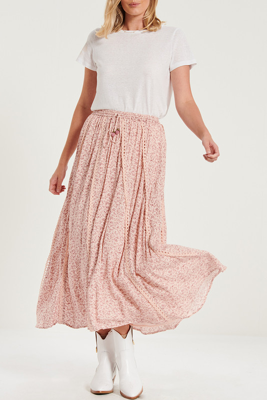 Lace Trim Maxi Skirt in Neverland