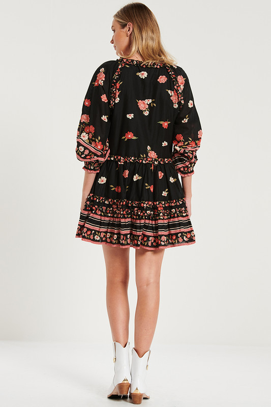 Raglan Sleeve Ruffle Mini Dress in Magnetic