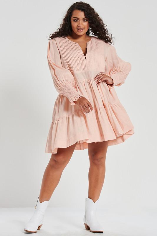 Tuxedo Pin Tuck Mini Dress in Soft Pink Linen