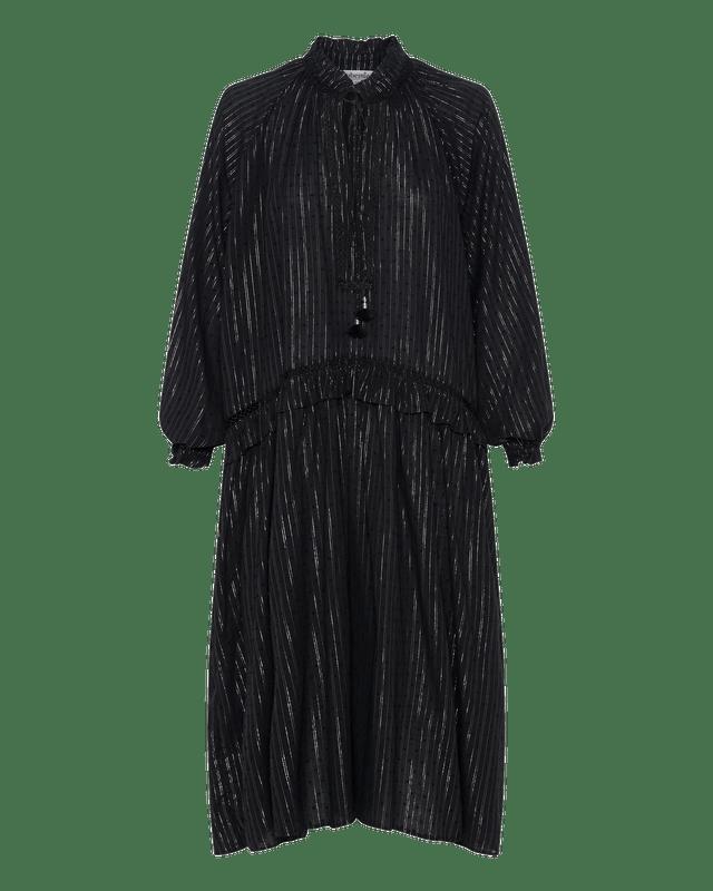 Ruffle Drop Waist Dress in Black Lurex Stripe