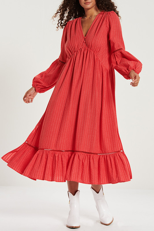 Button Back Dress with Splits in Hibiscus