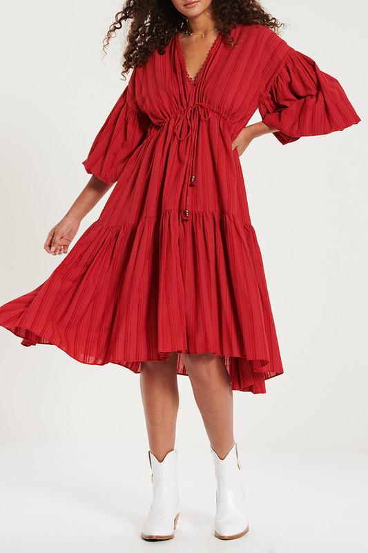 Billow Sleeve Midi Dress in Shiraz