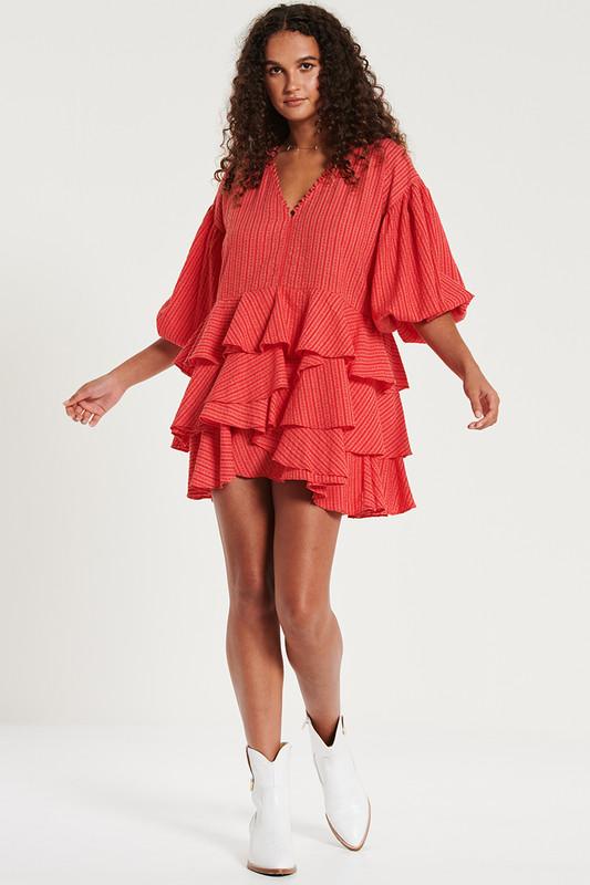 Ruffle Hem Mini Dress in Hibiscus