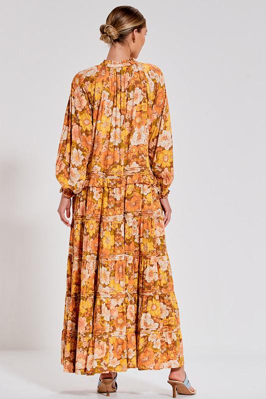 Ruffle Neck Tiered Maxi Dress with Pin Tucks in Rust Multi