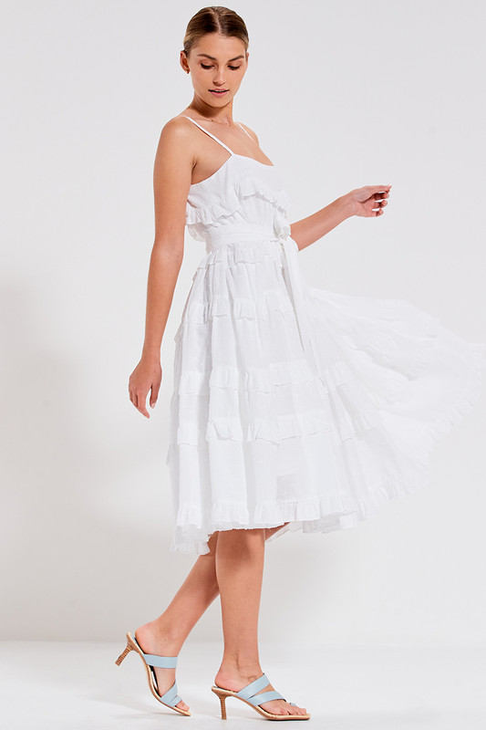 Tiered Midi Dress with Belt in White