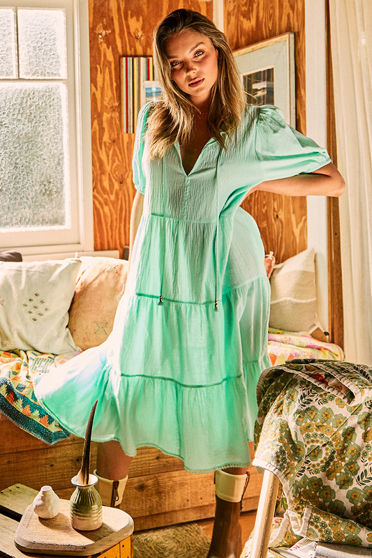 Tiered Panel Midi Dress in Turquoise