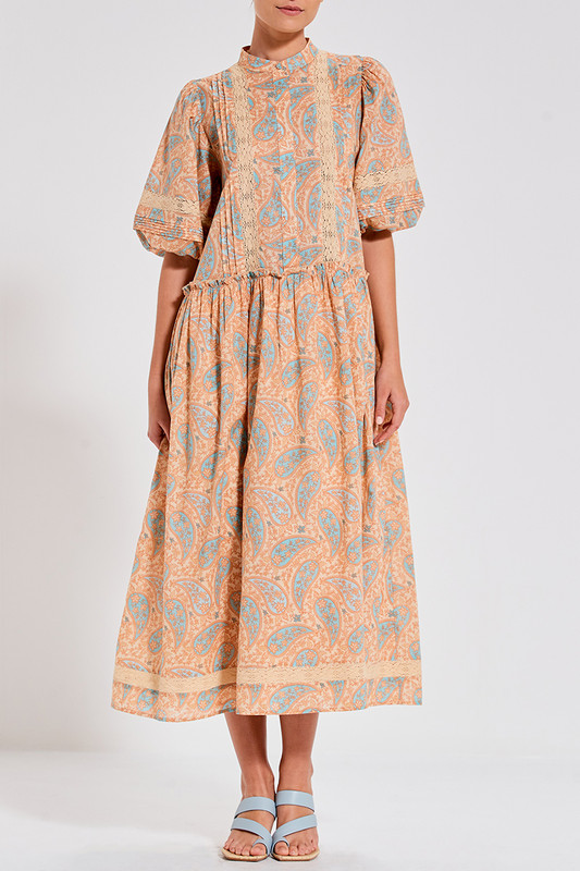 Camilla Midi Dress with Lace Inserts in Paisley