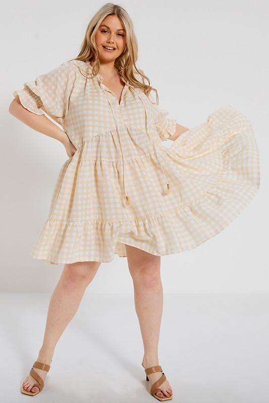 Short Sleeve Tunic Dress in Gingham