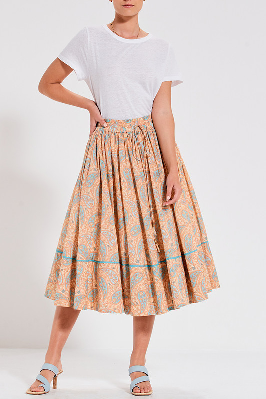 Rell Skirt with Elastic Waistband in Paisley